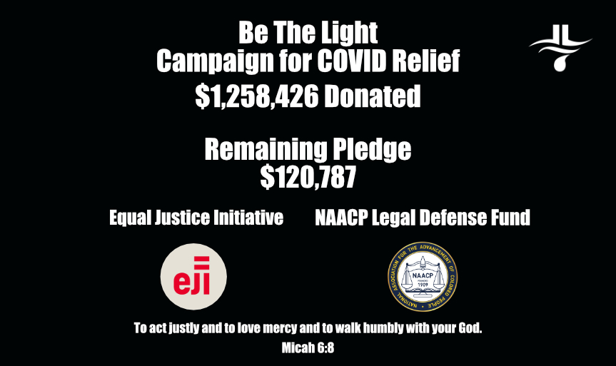 Today we're closing out #BeTheLight with $1.2M total donated. It's more than I ever expected and is a small way of showing what we all can do together.  With the remaining 125k I had pledged, I will be donating to the @eji_org and the @NAACP_LDF.  #BlackLivesMatter https://t.co/iJMHxhPOtf