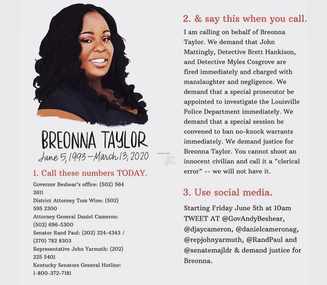 "Today Breonna would've been celebrating her 27th birthday but instead she was murdered in her bed by police that are calling it a ""clerical error"" let's demand justice for her today and here's how 👇🏾👇🏾#BreonnaTaylor #BreonnaTaylorBirthday https://t.co/uHZgPxzvKr"