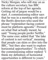 On the subject of BBC managementspeak, I wrote this in @TimesDiary six months ago (though think the director in question was James Purnell). Replenisher-facing content must be platform-agnostic and the lake of content is not vertical sound like titles for W1A episodes