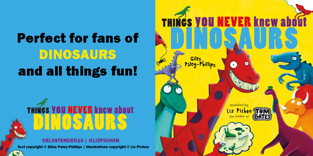 Dinosaurs go wild in #ThingsYouNeverKnewAboutDinosaurs OUT NOW!   Written by the brilliant Giles Paley-Phillips @eliistender10 and illustrated by talented @LizPichon, it is a must have for anyone who loves dinosaurs! https://t.co/GqTRwiLl2F