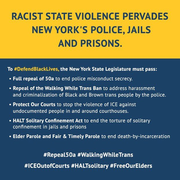 BREAKING: We & 190 orgs call on @AndreaSCousins @CarlHeastie to address racist state violence from policing to courts to jails & prisons. ✅Full #Repeal50a ✅Police STAT Act ✅Elder Parole ✅Fair & Timely Parole ✅#HALTsolitary ✅Repeal #WalkingWhileTrans Ban ✅Protect Our Courts