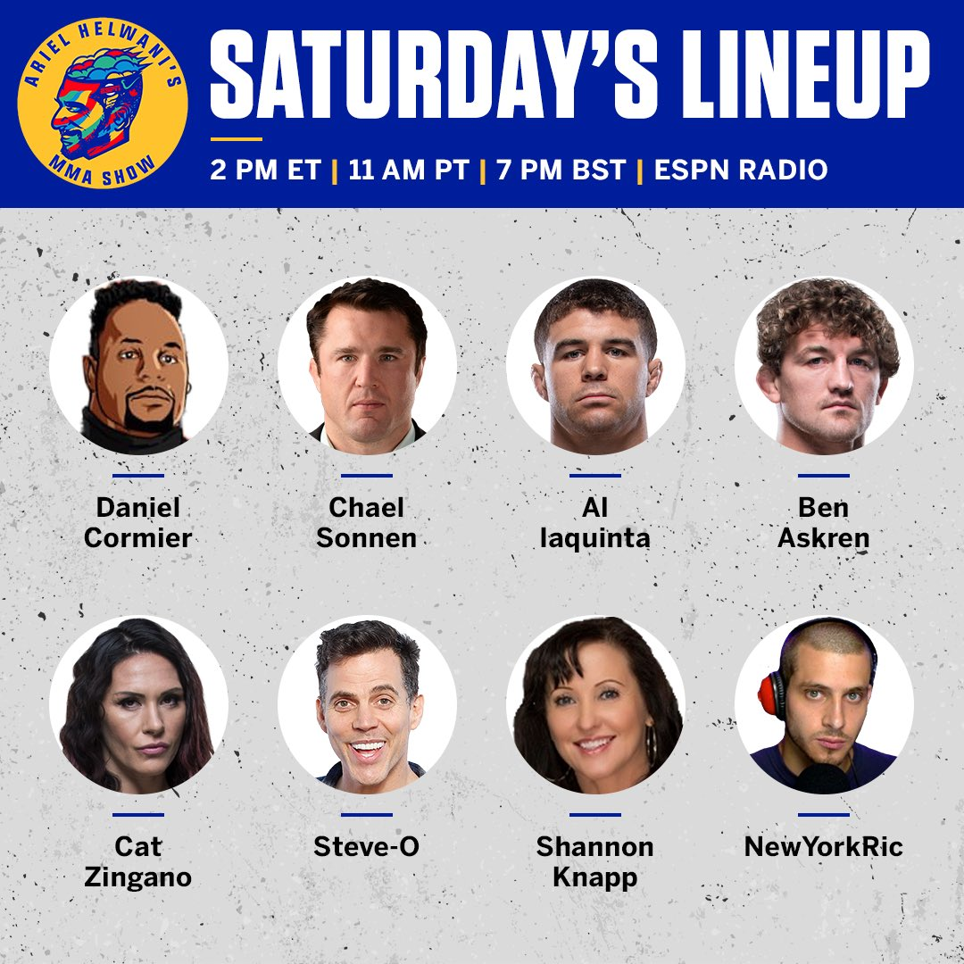 The #HelwaniShow is back on @ESPNRadio tomorrow! 3 hours beginning at 2 pm et / 11 am pt / 7 pm gmt.   @dc_mma  @ChaelSonnen  @ALIAQUINTA  @Benaskren  @CatZingano  @steveo  @shanknapp  @NewYorkRic   & you!  You can listen wherever you may be and call @ 1-888-SAY-ESPN.  Talk then! https://t.co/x03DF26BRJ