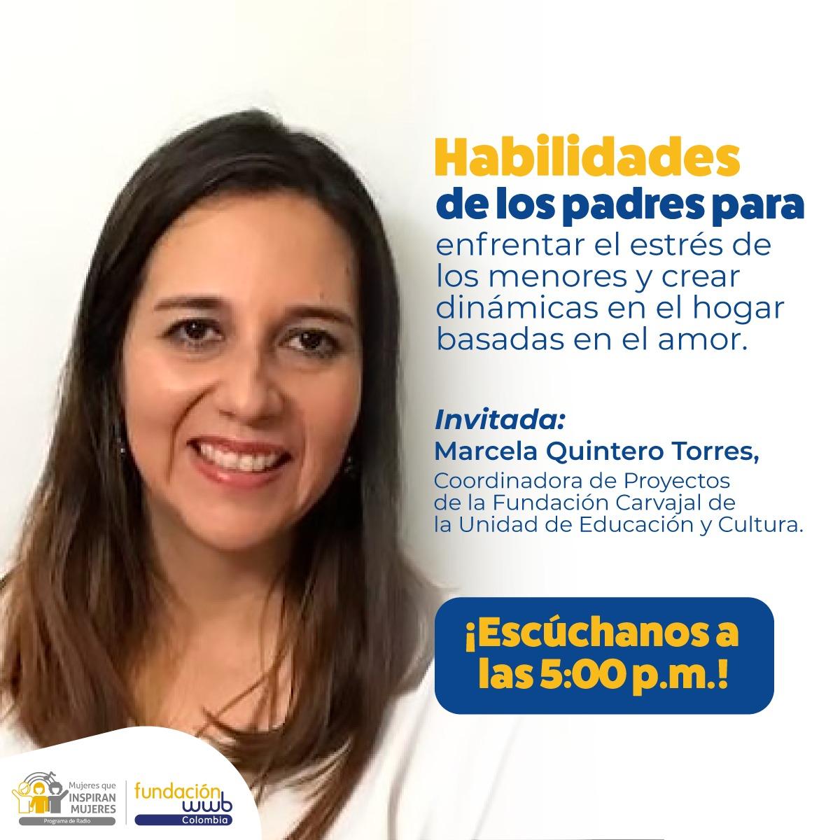 Marcela Quintero, coord. del área Educación y cultura de la @FunCarvajal , está al aire en @rcnmundo para conversar en @FundacionWWBCol sobre habilidades de los padres para enfrentar el estrés de los menores y crear dinámicas en el hogar basadas en el amor https://www.rcnmundo.com/calidadcalipic.twitter.com/lg8NE7mJ2J