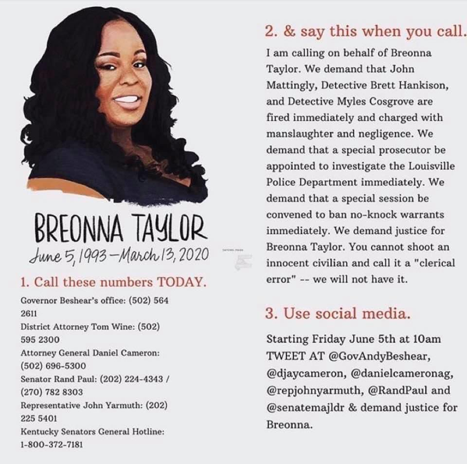 #BreonnaTaylor would have turned 27 today. 27. And the 3 officers who killed her are still free and getting a paycheck. Use the info below to demand #JusticeforBreonnaTaylor from @GovAndyBeshear. https://t.co/ZwBLkphjLE
