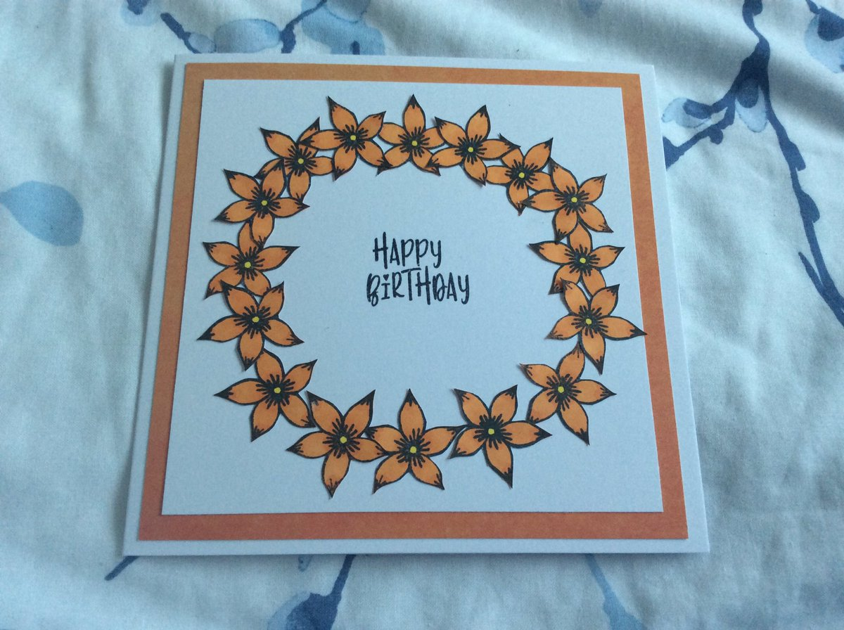 Card made yesterday, not my usual style and not perfect but fairly happy with it! #handmade pic.twitter.com/3CFCcErPDV