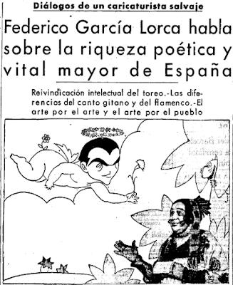 """El 10 de junio de 1936 El Sol publicó la última entrevista de #Lorca, realizada por su amigo y dibujante LLuis Bagaría: """"Yo soy hermano de todos y execro al hombre que se sacrifica por una idea nacionalista por el solo hecho de que ama a su patria con una venda en los ojos"""". https://t.co/bRsCAx2TOf"""