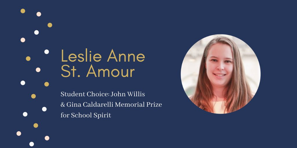 John Willis & Gina Caldarelli Memorial Prize for School Spirit 📣  #UofTGrad20 Leslie Anne St. Amour has made substantial and meaningful contributions to the law school and demonstrated interest in the well-being of her JD classmates 🤗 https://t.co/W9gy6SGBPM
