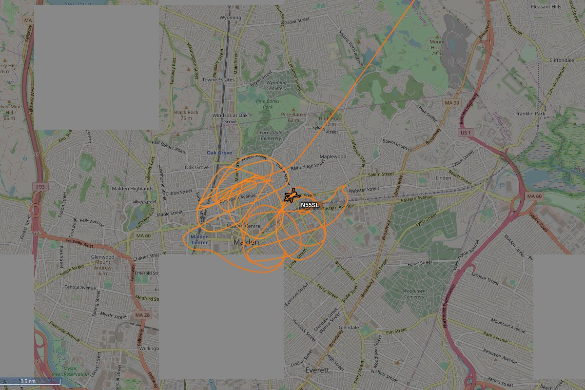 N55SL, a 2007 Bell Helicopter Textron Canada 206L-4, is circling over Malden at 1400 feet, speed 48 MPH, squawking 0226, 0.04 miles from 420 Eastern Ave #N55SL https://tar1090.adsbexchange.com/?icao=A6FEAD&zoom=13…pic.twitter.com/ErKWZTBW9A