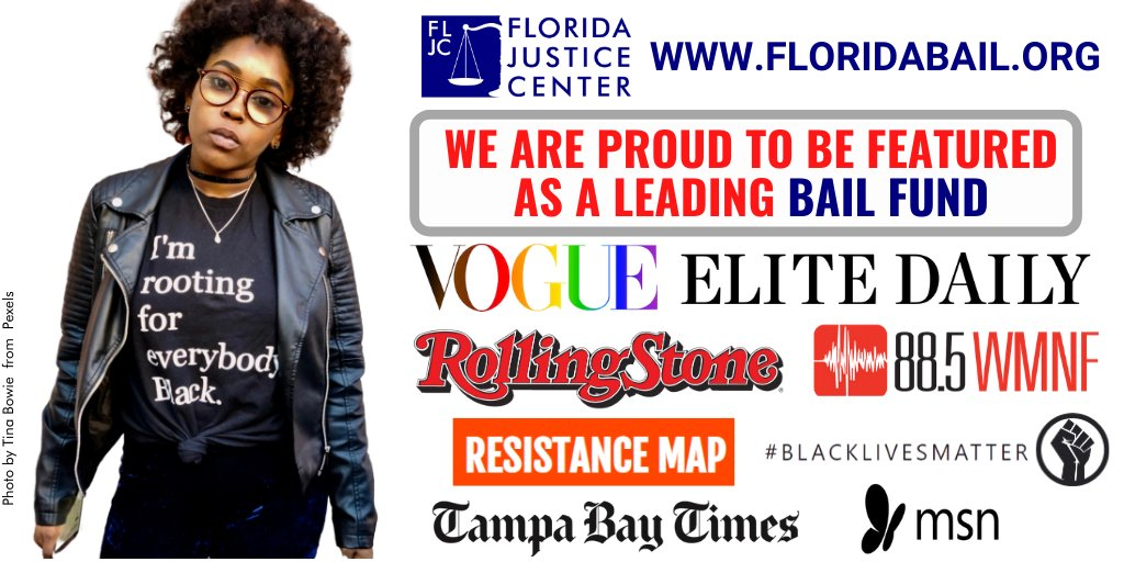 @FLJusticeCenter thanks @voguemagazine @RollingStone  @EliteDaily, Resistance Map, Black Lives Matter, @wmnf @MSN & @TampaTimes for featuring us as a leading bail fund in Florida. Donate or apply for help at http://www.FloridaBail.org  #bailfund #blacklivesmatter #justiceforgeorgepic.twitter.com/4kYET7VDvd