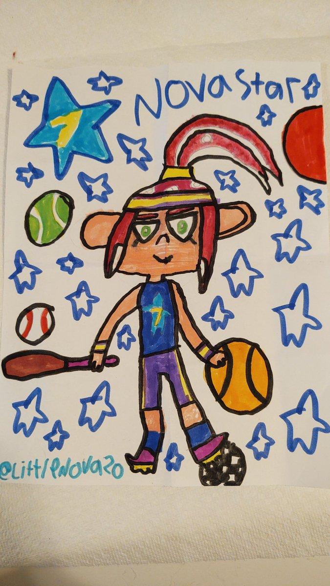 Nova Star(me) is wearing a awesome Sports Outfit. I'm ready to play some sports like Basketball I guess? I hope you will like it!😎👍 (Retweets are appreciated!) #Splatoon #Splatoon2 #OctolingGirl #Octoling #Sports #SplatArt #Fanart #Sketch #Markers #Drawing #ArtistOnTwitter