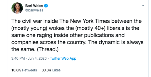 The scope of Bari Weiss Derangement Syndrome among journo/media types on this platform is breathtaking. Her observation about divisions in the newsroom might not be the whole story (nothing ever is) but it's not wrong.