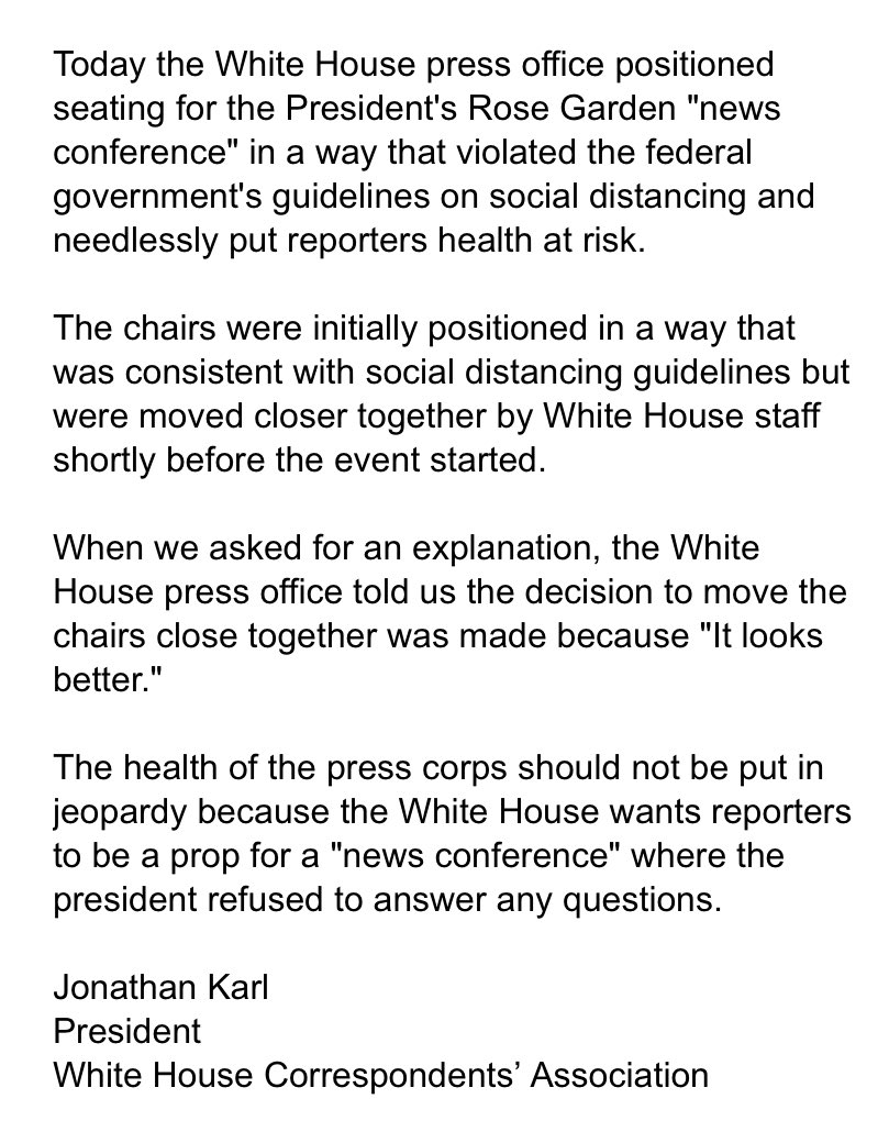 """.@whca on today's """"news conference"""" in the Rose Garden"""