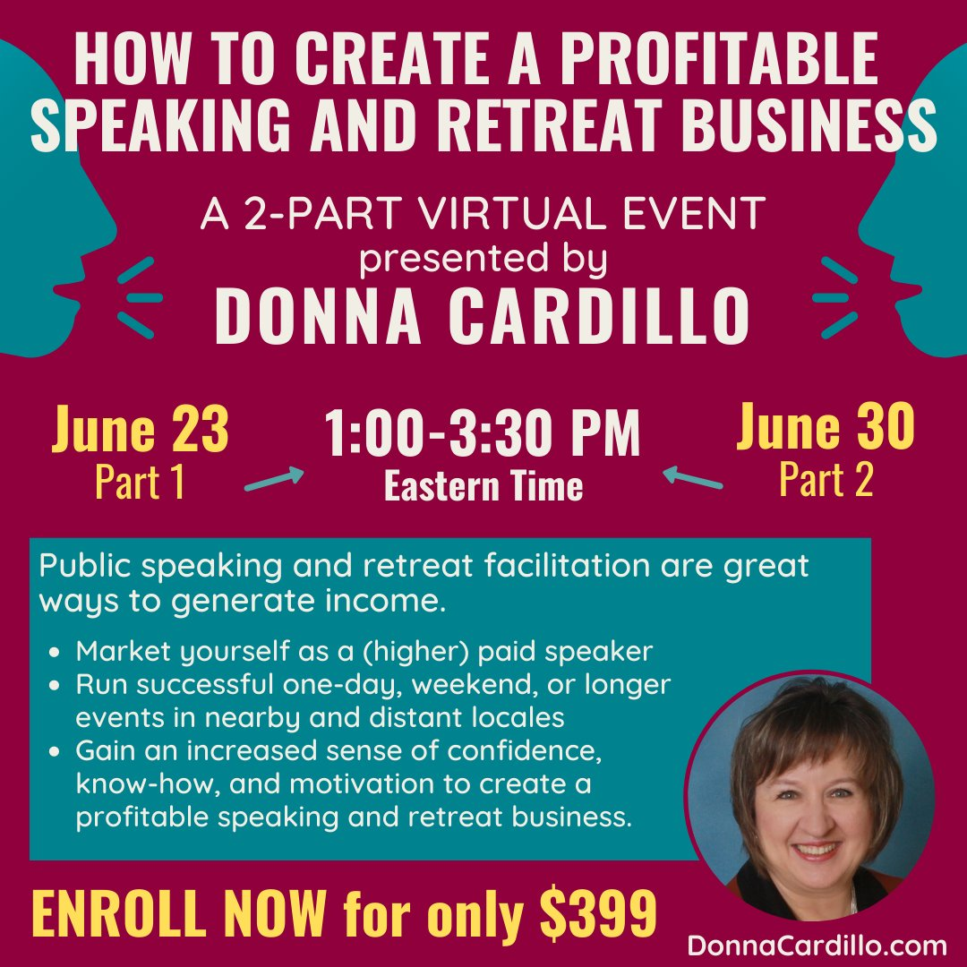 Back by popular demand!  How to Create a Profitable Speaking and Retreat Business, a 2-PART VIRTUAL EVENT - June 23rd (part 1) AND June 30th (part 2).  REGISTER >>> http://ow.ly/qjkW50A06qI  <<< #retreatfacilitation #publicspeaking #entrepreneur #speakingandretreatbusinesspic.twitter.com/GiEXyhc0mK