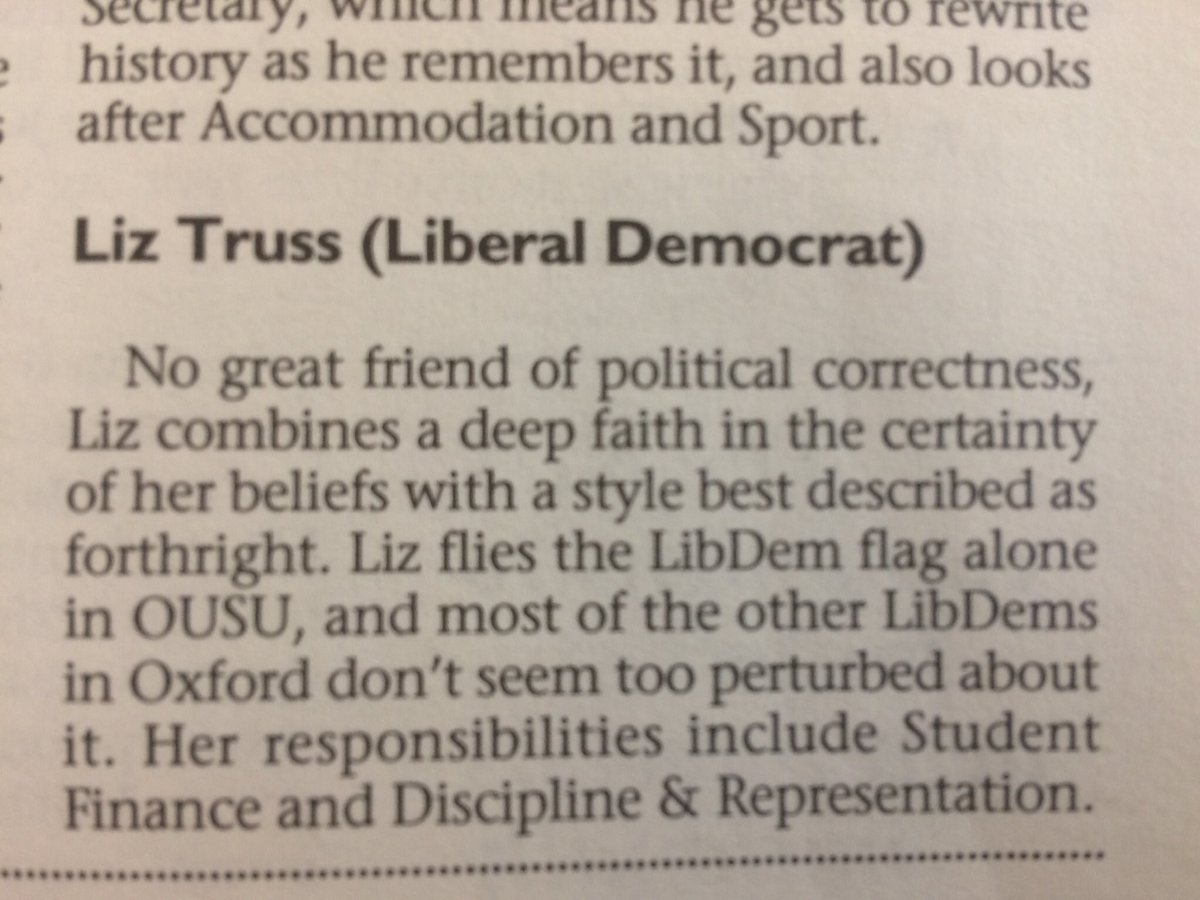 Wife was going through some old books today and found this in an Oxford student union guide. Sounds as much of a Lib Dem as Priti Patel