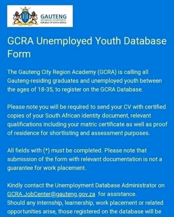 #opportunity for Gauteng youth pic.twitter.com/J58Cl7o6yE