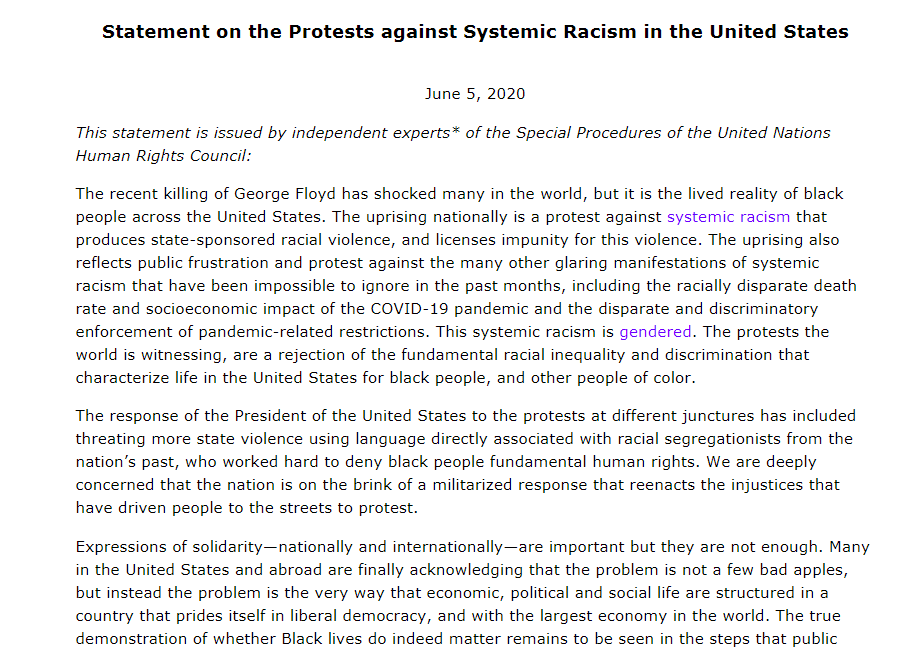 """""""We are deeply concerned that the nation is on the brink of a militarized response"""" """"The true demonstration of whether Black lives do indeed matter remains to be seen in the steps that public authorities & private citizens take""""  #UN experts on US protests https://t.co/OMOe5UP09U https://t.co/oCPp66DiEN"""