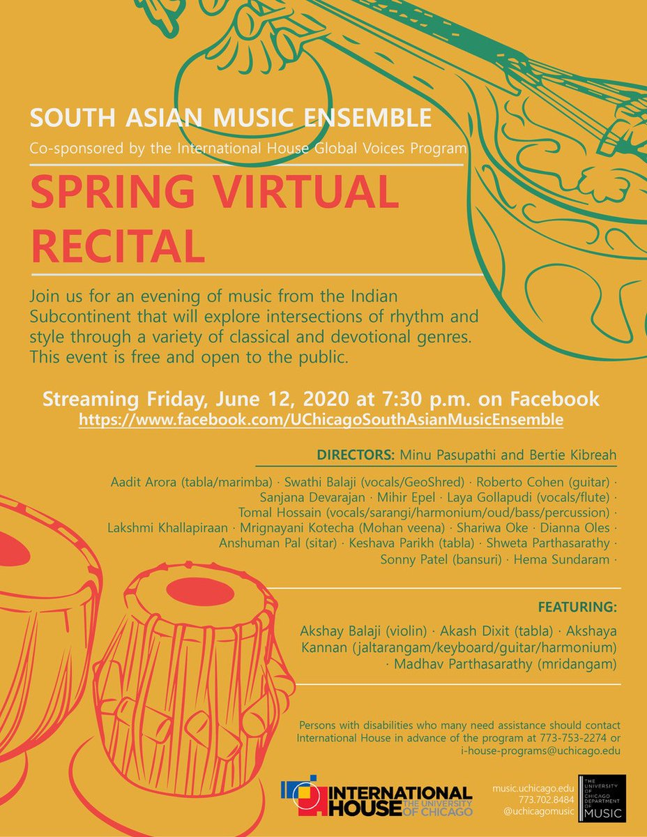 STREAM THIS: #UChicago South Asian Ensemble Concert, Friday June 12, 7:30 pm CST (GMT+5). pic.twitter.com/huZJ1B16Ed