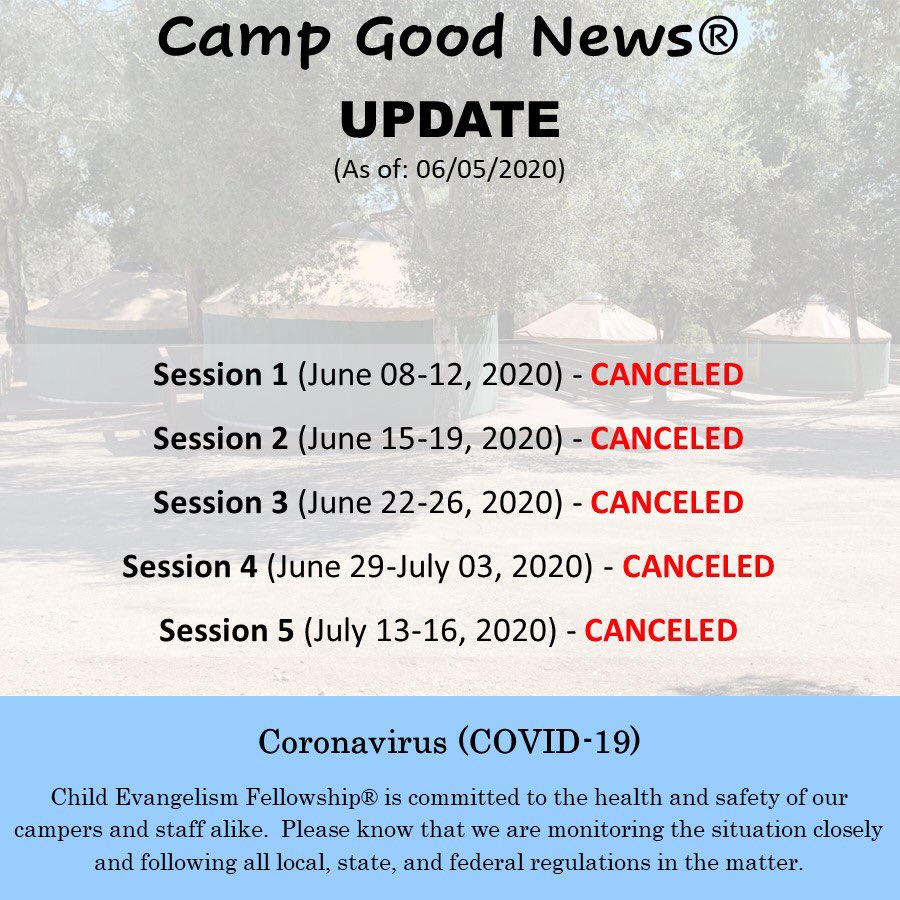 The time has come for camp to officially be canceled for Summer 2020.  Such a sad time this is for all of us here at Child Evangelism Fellowship. But, we look forward to seeing you all in 2021! . #CampGoodNews #CGN2020 #CGN #ChildEvangelismFellowship #CEFpic.twitter.com/cD7OIdQOq4