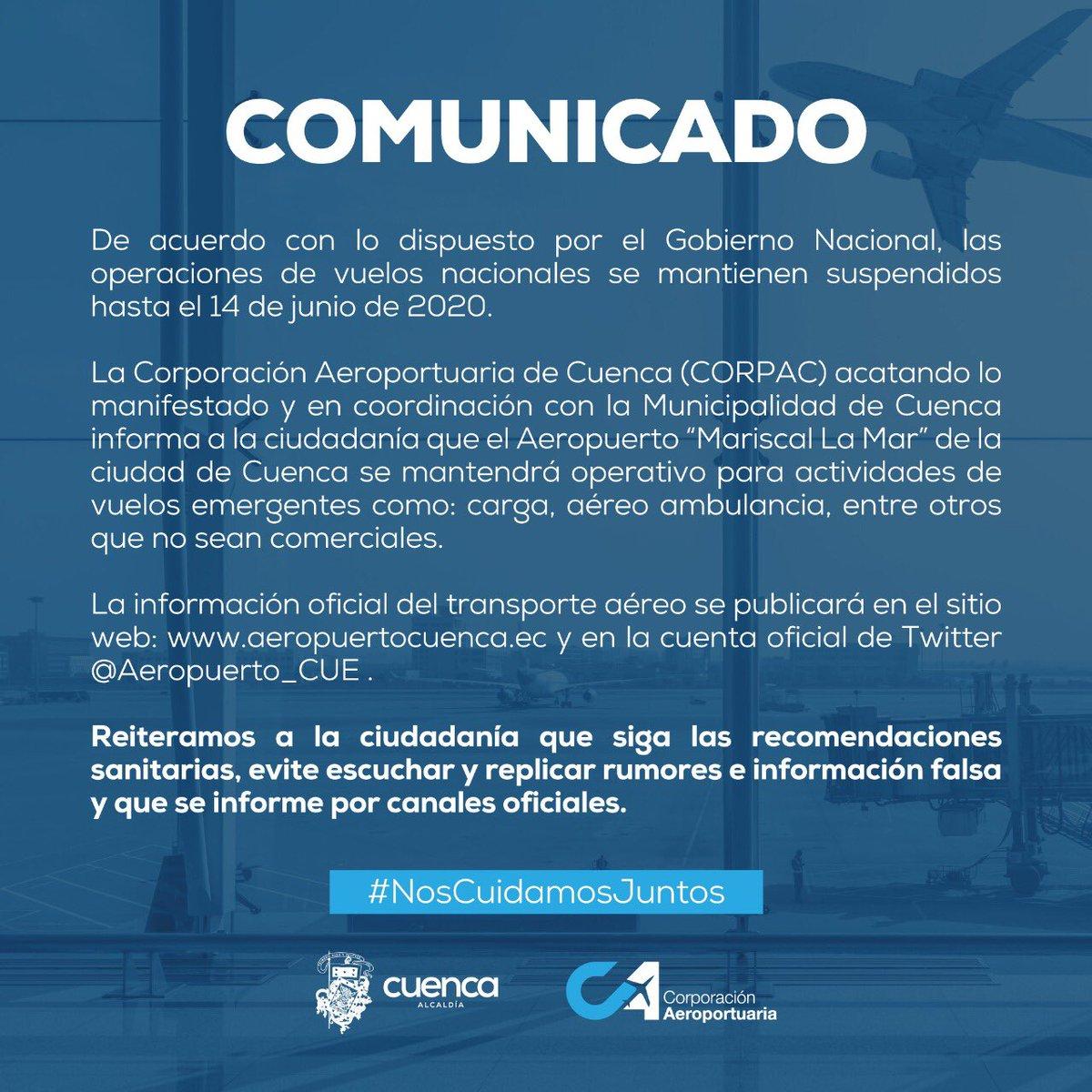 Recordamos a nuestros usuarios que los vuelos comerciales se mantienen suspendidos hasta el 14 de junio. Nos preparamos para recibirte.  #Corpac  ✈️#CuencaUnida https://t.co/xNbEmi67zM