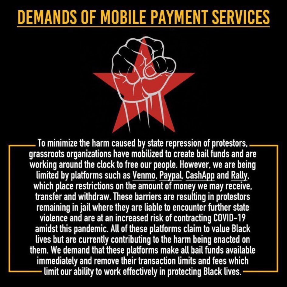 In solidarity with @PeoplesBreakOak i'm asking folks to tweet @venmosupport @cashsupport & @askpaypal telling them to follow in the steps of @stripe with waiving the transaction fees for bail funds & make all funds available immediately! (repost please don't retweet) pic.twitter.com/8Qo5fsQvDt