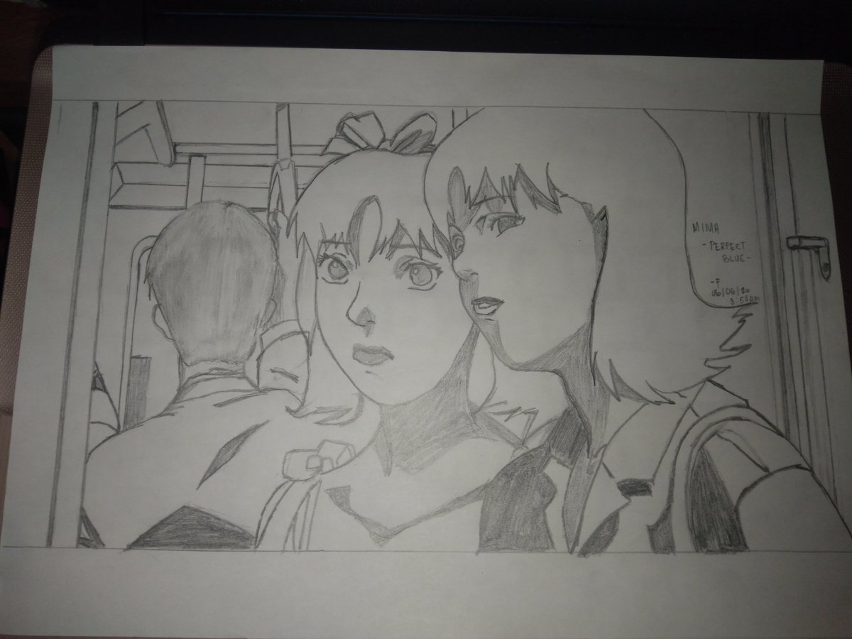 after almost 3 hours of sketching this, im finally done.   satoshi kon's perfect blue. :> pic.twitter.com/q6kmn9YYg8