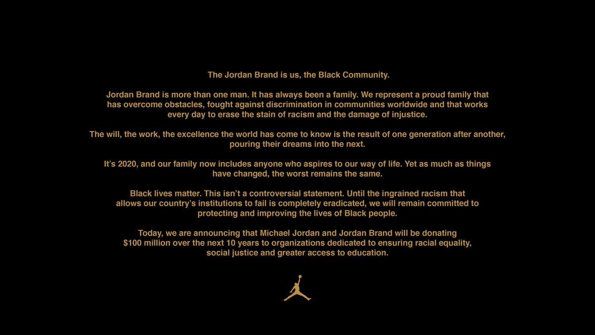 Joint Statement from Michael Jordan & Jordan Brand regarding $100m donation. https://t.co/yYXWh5eBZl