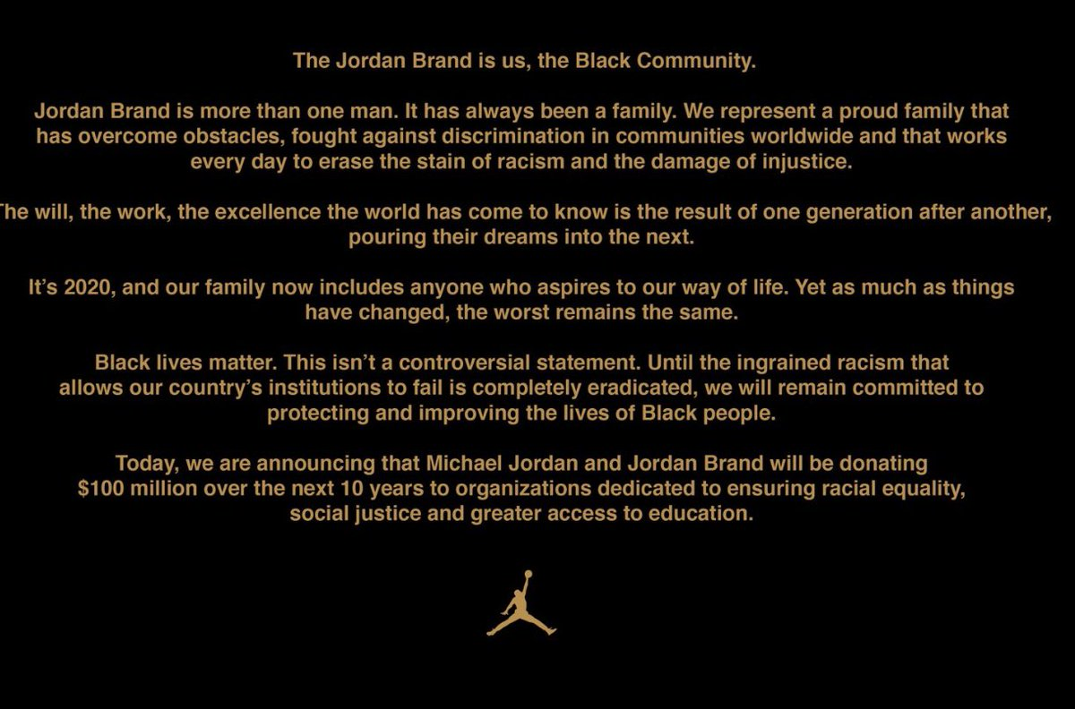 JUST IN: Michael Jordan and the Jordan Brand announces $100,000,000 donation over the next decade to causes that will ensure racial equality, social justice and greater access to education (via @esteep) https://t.co/Hrbd5uDxdk
