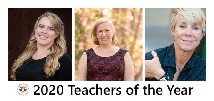 Congrats to the winners of @sdschools Teacher of the Year Awards! Theyve each gone the extra mile to help their students succeed during the pandemic. We cant help but be proud that Kelly and Deidre are also #mentors for #UCSDxs teacher ed program. 👩🏫🏆 bit.ly/36lATzE