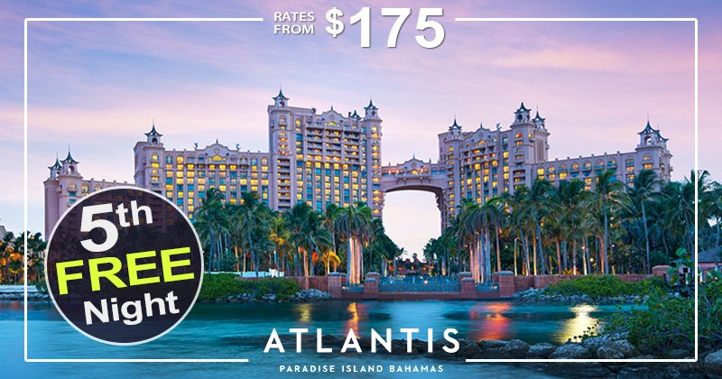 With rates from $175, book four nights at Atlantis and get your 5th night free! 💜💙 https://t.co/5FFLDjs2PA #bahamas #traveldeals #familytravel https://t.co/Yg7msDPG3p