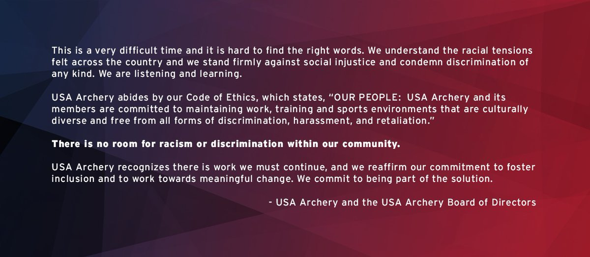 USA Archery Statement Against Discrimination 🏹  Additional Resources: USA Archery Code of Ethics: https://t.co/t7I2TYBv4w  USA Archery Diversity and Inclusion Plan 2017-2020: https://t.co/6yucGS0sPU https://t.co/0c19LDNhQW