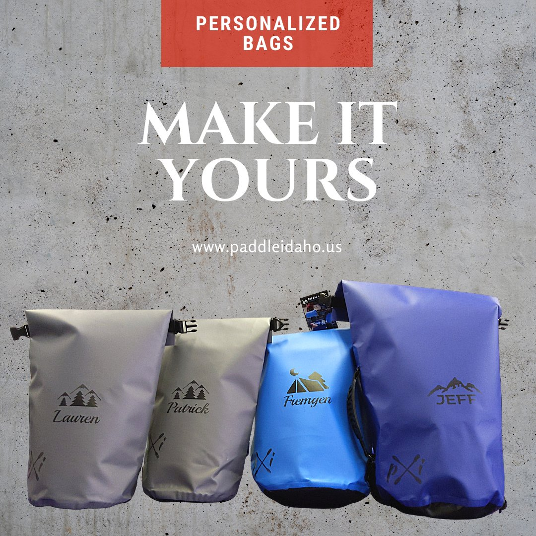 Our hottest product today.  Personalized dry bags. Choose from 5 different designs.   https://t.co/aKaPqGnQRX   #campinggear #idahoexplored #explore #wanderlust #travelawesome #keepitdry #northwest #paddleboarding #idahodaily #idaholife #pnw #personalizedgift #fathersday https://t.co/GrlaGjiNS2