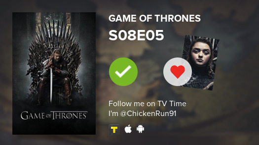 I've just watched episode S08E05 of Game of Thrones! #GoT  #tvtime https://t.co/Mc6xLZM9dQ https://t.co/H5Jx2Y8XRY
