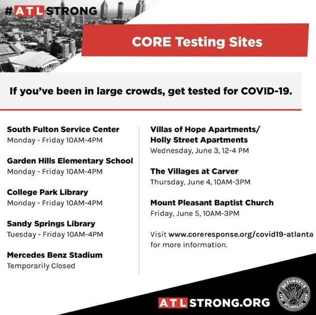 If you have been a part of mass gatherings, please take a COVID-19 test. I took one today. #ATLStrong