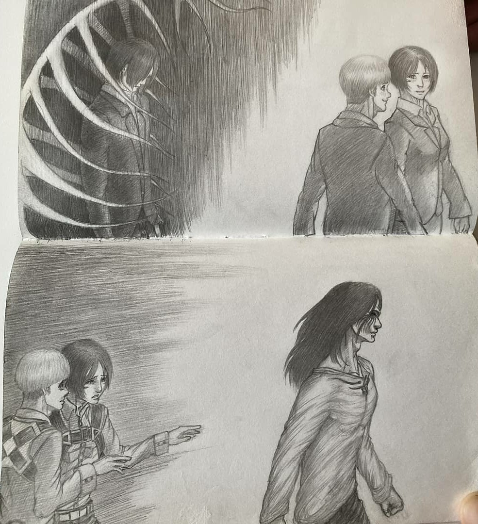This halfdrawing/halfsketch, in other words - halfassed drawing, I made not so long after a #chapter123 of #SnK dropped. Imo, quality of a drawing sucks, just look at these dudes #attackontitan #shingekinokyojin #eren #erenjaeger #mikasa #mikasaackerman #armin #arminarlert #anime pic.twitter.com/bb8YwlP1Kl