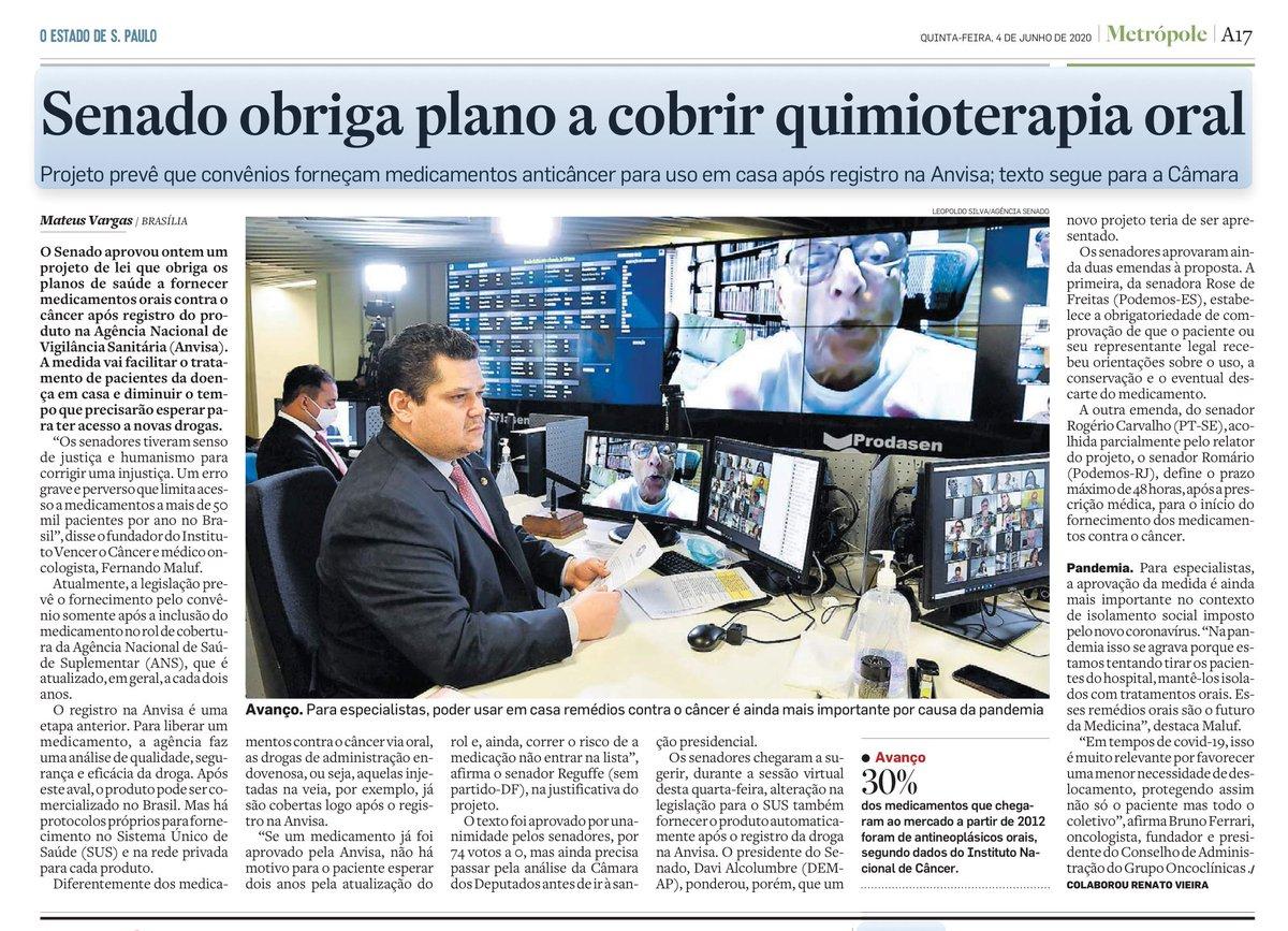 | Senado contra o câncer |  O @EstadaoSaoPaulo noticiou a aprovação do PL 6330/2019, do @Reguffe, que obriga a cobertura por #PlanosDeSaude de tratamento domiciliar de uso oral contra o #cancer. A emenda de Rose, acatada pelo relator, @RomarioOnze, foi abordada na reportagem. https://t.co/MeRxhcbMXG