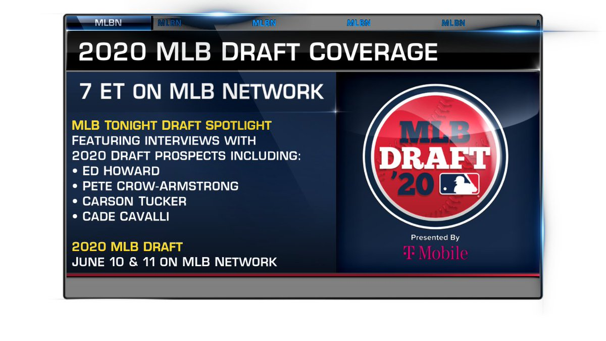 2020 #MLBDraft preview coverage continues tonight on    @MLBNetwork as @StephenNelson, Jim Thome, @TheMayorsOffice & @ChaseAnderson87 interview some of the top players available in the Draft.  Draft order, bonus pools, Top 200 prospects & more: https://t.co/cmm19LX2BQ https://t.co/OzXuloHNcE
