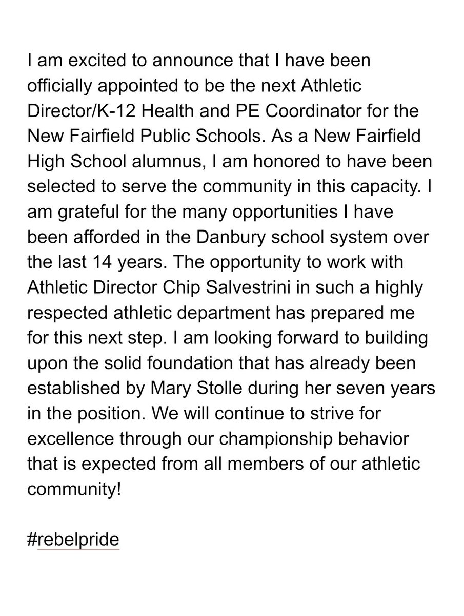 """The news is official! I was """"welcomed back"""" to New Fairfield last night when I was officially approved to be their next Athletic Director/K-12 Health and PE Coordinator. Thank you to @NFSuper and @principaldamico for this tremendous opportunity. Go Rebels!pic.twitter.com/Ac57ti2e1g"""