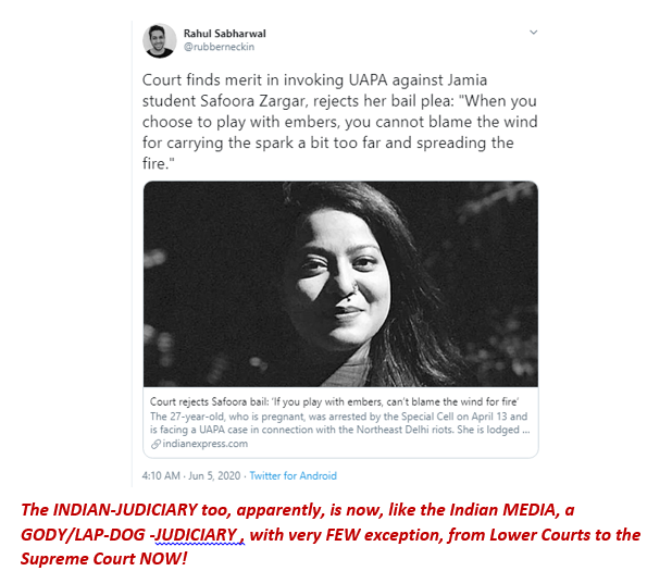 The INDIAN-JUDICIARY too, apparently, is now, like the Indian MEDIA, a GODY/LAP-DOG -JUDICIARY, with very FEW exception, from Lower Courts to the Supreme Court NOW! pic.twitter.com/7OpKkOJwv9
