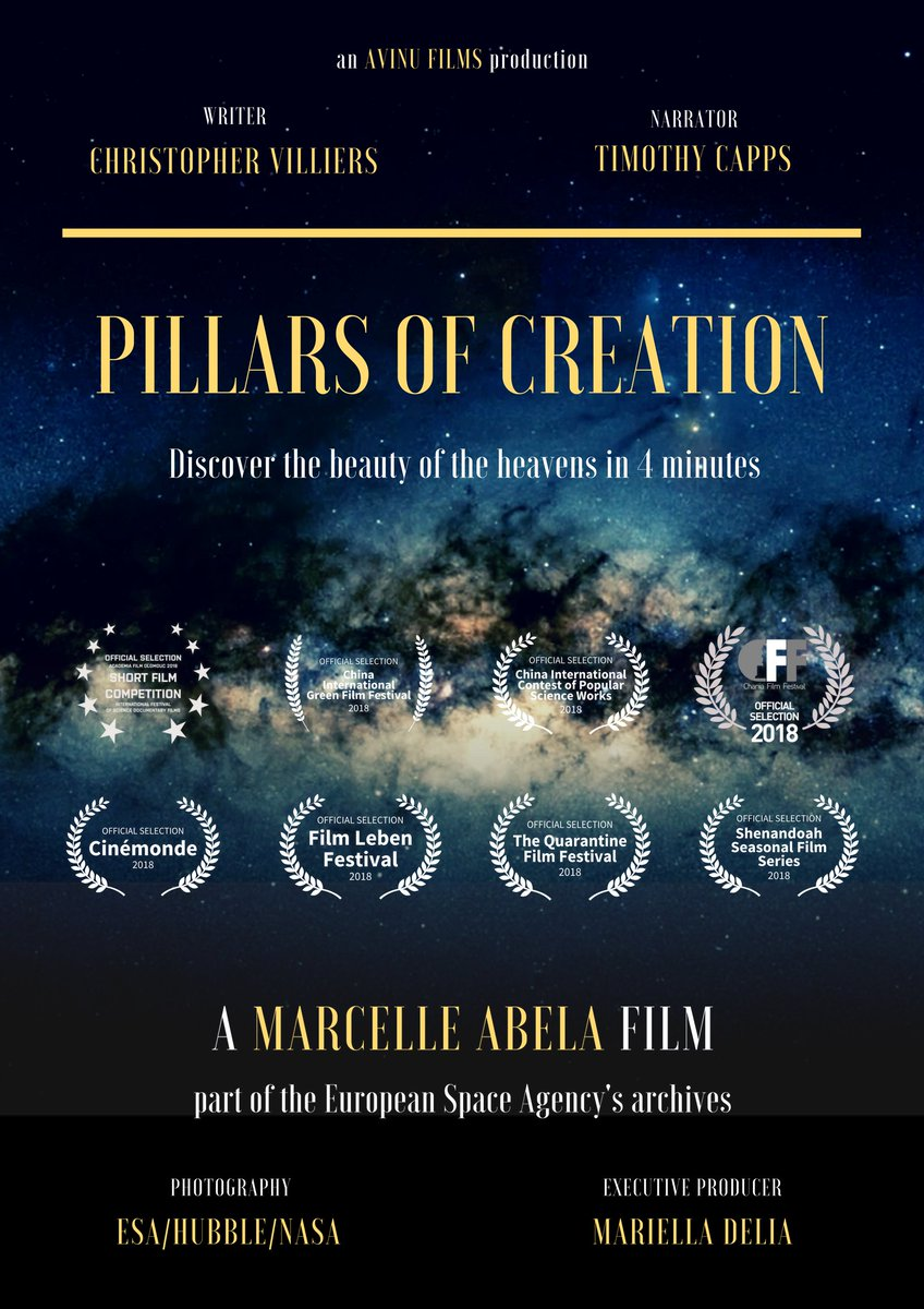 PILLARS OF CREATION by dir. Marcelle Abela  @AvinuFilms  Discover the beauty of the heavens in 4 minutes. CLICK HERE=> http://ow.ly/mBbq30qMhbo  #Indiefilmmaker  #Preproduction #FilmFestival #femaledirectors #PostProduction #Femaledirector #Femalefilmmaker #filmmaking #WomeninFilmpic.twitter.com/1tLmipQx7U