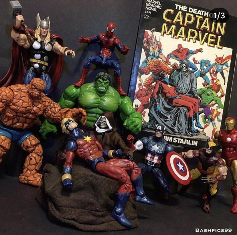 Death of #CaptainMarvel recreation by #BashBash! ✨ IG: https://t.co/E9CwsvCLWT ✨ #MarVell #Hulk #IronMan #Thor #SpiderMan #Death #Wolverine #CaptainAmerica #Thing #JimStarlin #Marvel #MarvelLegends #MarvelComics #MarvelCosmic https://t.co/bWMrL7gWoe