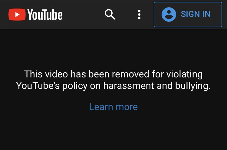"""This video was taken down by @YouTube for """"violating YouTube's policy on harassment and bullying"""".  Looks like @SemoreV is the one getting bullied here...  Can @YouTube @ytcreators please provide a reason? https://t.co/bHy2vrkAIK https://t.co/vmvgDNbaXw"""