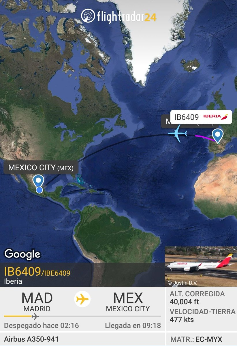 Despega a Ciudad de México el vuelo IB6409 de #Iberia, operado por primera ocasión con un Airbus A350-900 (EC-MYX). Se espera que la aeronave aterrice en el Aeropuerto Internacional de la Ciudad de México aproximadamente a las 5:20am del sábado 6 de junio. https://t.co/ROGmvZ6230