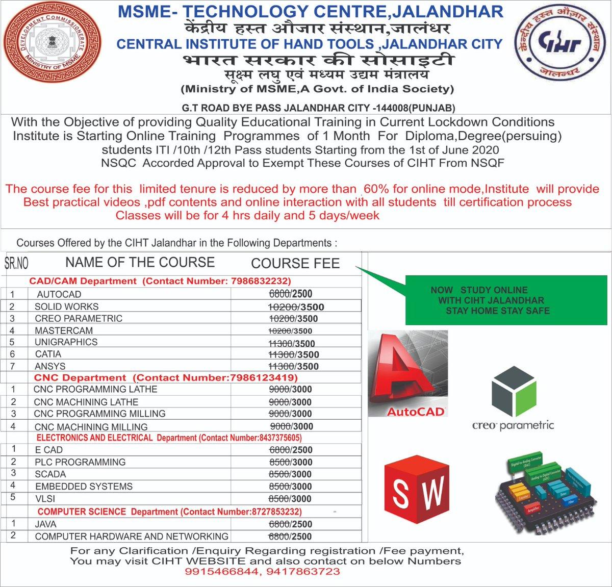 Admission open for online industrial Training at CIHT jalandhar https://t.co/FzYjm5duvL
