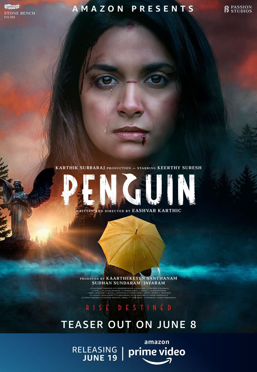 Who is that Umbrella Man?  #Penguin teaser on 8th June...   #PenguinOnPrime premieres June 19 in Tamil,Telugu, & Malayalam, on @PrimeVideoIN  @KeerthyOfficial @EashvarKarthic @Music_Santhosh @Madhampatty @StonebenchFilms #PassionStudios @SonyMusicSouth @kaarthekeyens @Sudhans2017