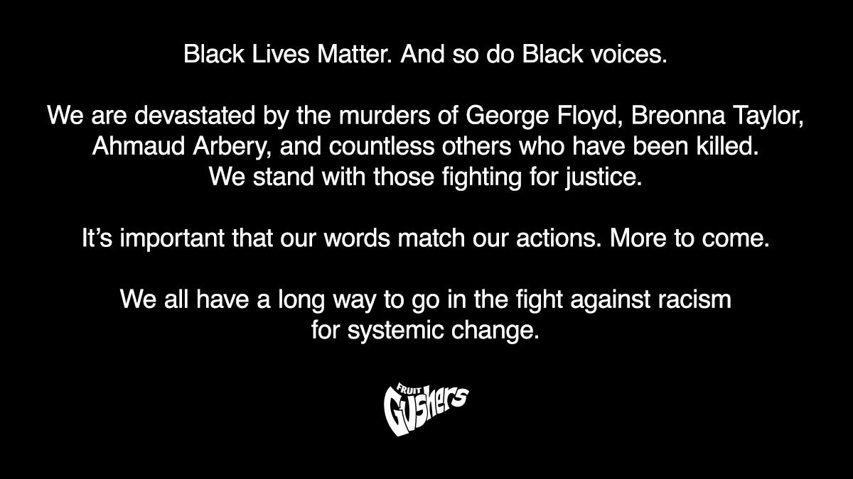 Gushers wouldn't be Gushers without the Black community and your voices. We're working with @fruitbythefoot on creating space to amplify that. We see you. We stand with you. https://t.co/7y1DgUYitN