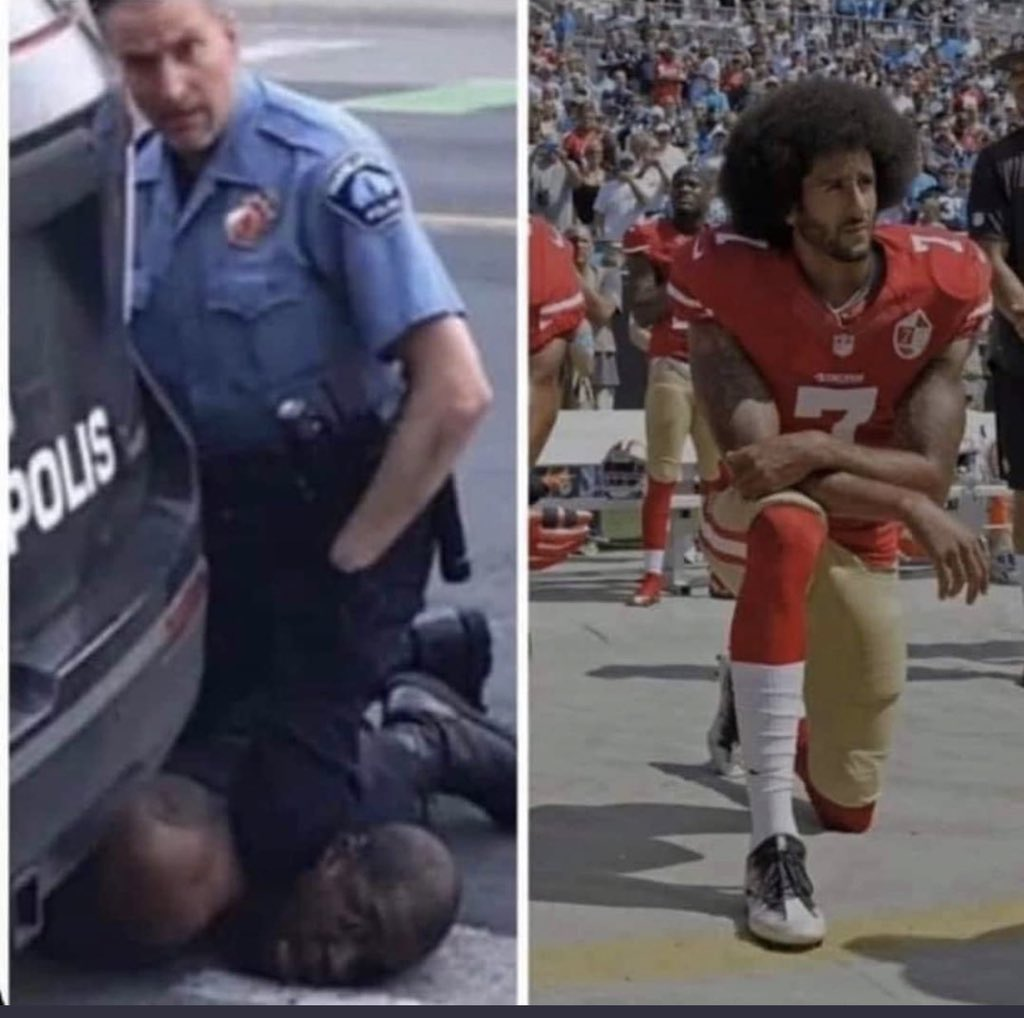 If the one on the right offends you, but not the one on the left, youre part of the problem. #NoKneeling