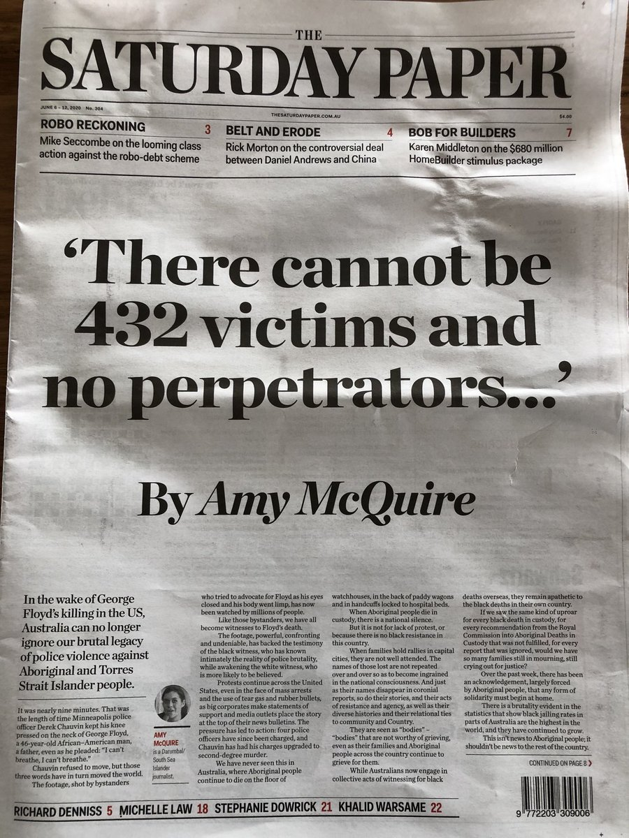 Amy McQuire has written one of the most powerful sentences in Australia's history.  A few sentences rival it. None surpass it.  It is a masterpiece of meaning.  ⁦@amymcquire⁩ ⁦@SatPaper⁩ https://t.co/VM44DewKbj