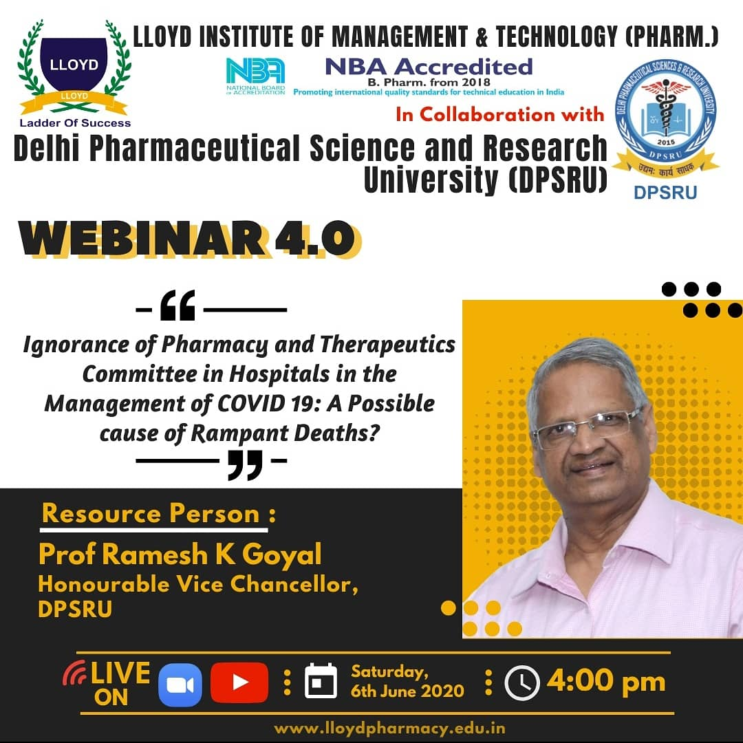 """#webinar-4.0 on """"Ignorance of Pharmacy and Therapeutics Committee in Hospitals in the Management of Covid-19: A Possible Cause of Rampant Deaths"""" #TODAY at 4 pm. Zoom Meeting Link: https://t.co/22yJxVwHsS  Catch us live on YouTube: https://t.co/ytb6uKhXGz https://t.co/yKKZn2uRnJ"""