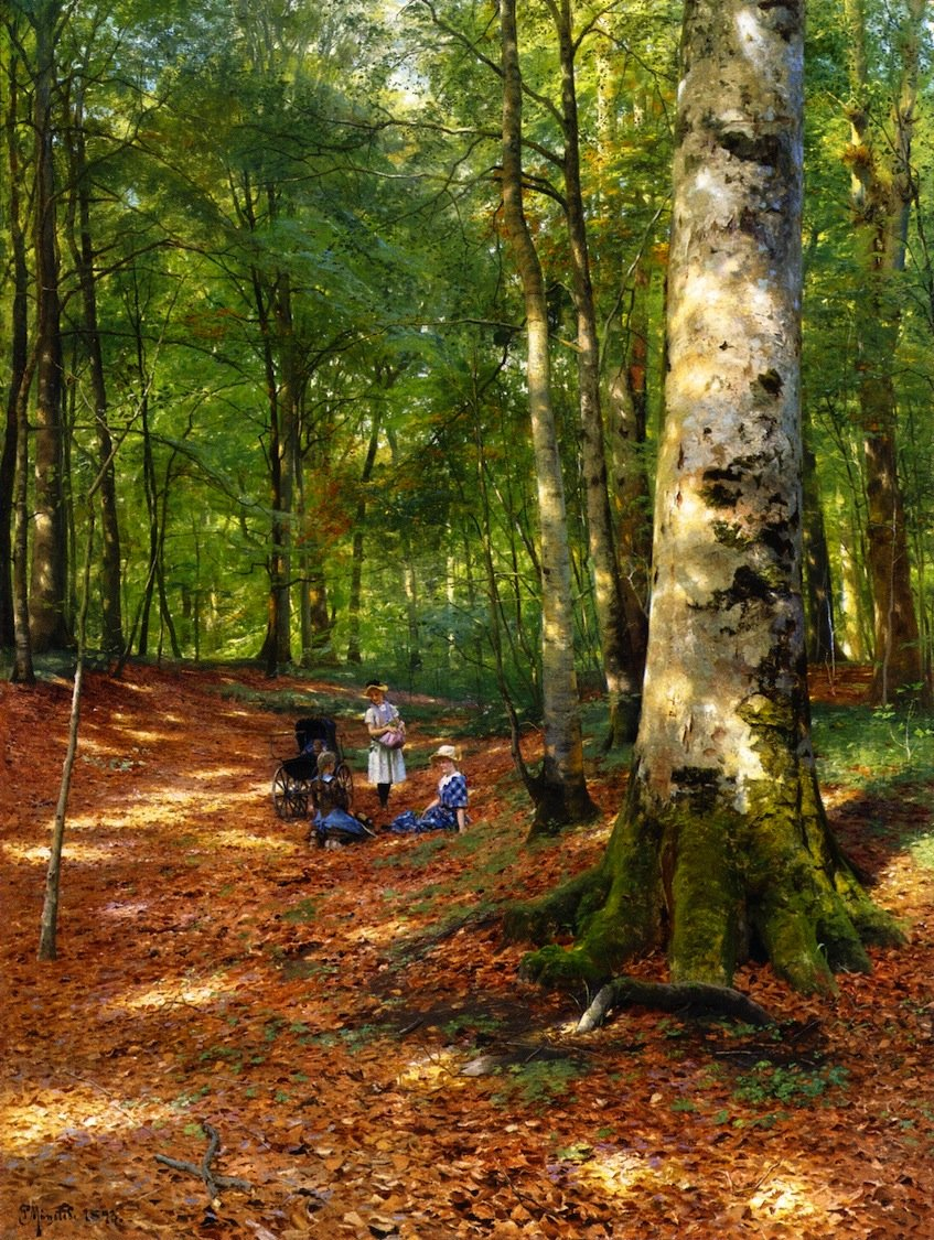 """Peder Mørk Mønsted (1859-1941) """"The Woodland Glade"""" c. 1898pic.twitter.com/o9kIHxGugK"""