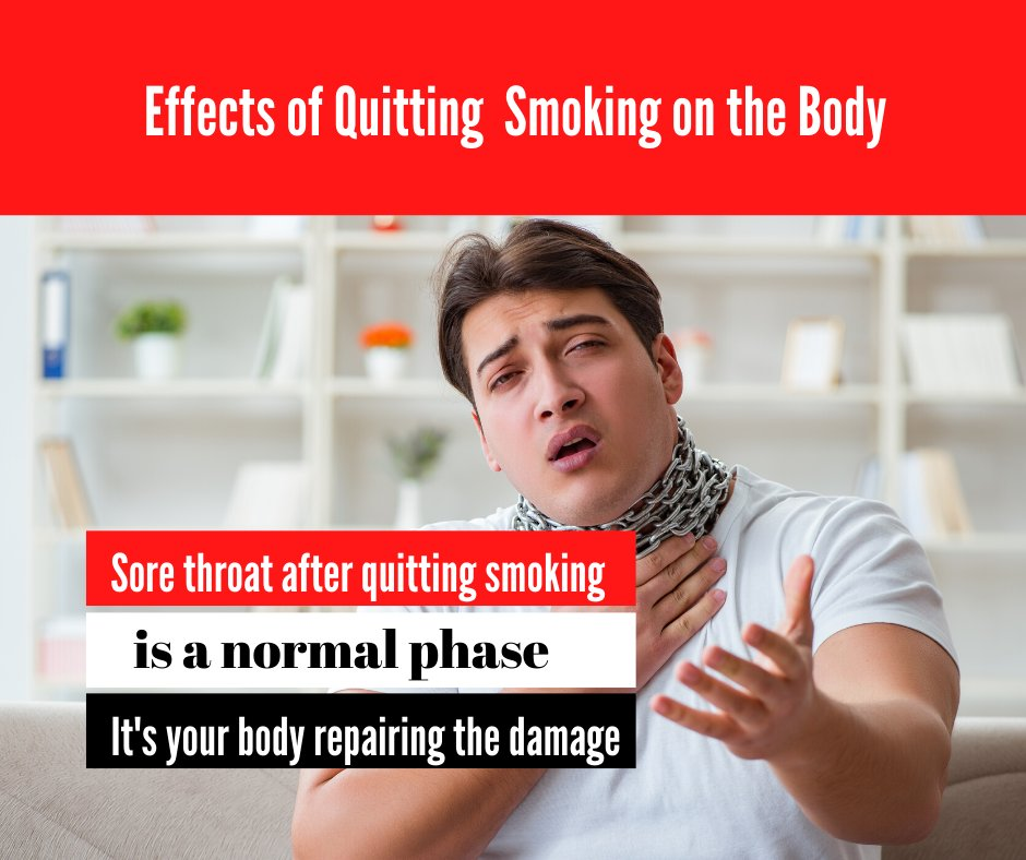 Is sore throat after quitting smoking a normal phase, and how long does it last?  https://t.co/1tHPb2Y0vJ #Sideeffectsofquittingsmoking #sorethroat #quitsmoking #health #tracewellness #smokingsideeffects #smoking https://t.co/w3AZa76wkc